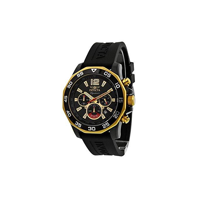 Invicta Signature II Chronograph Nautical Black Dial Black Rubber Mens Watch 7434