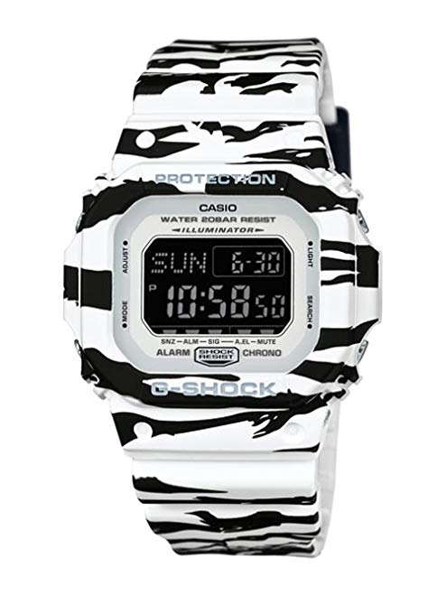 Casio G-Shock BLACK AND WHITE Series TIger Striped Mens Resin Watch DWD5600BW-7 Digital World Time Shock Water Resistant Alarm