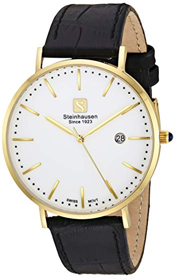 Steinhausen Men's 'Burgdorf' Swiss Quartz Stainless Steel and Leather Dress Watch, Color Black (Model: S0521)