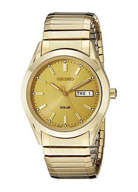 Seiko Men's Goldtone Solar Dress Calendar Watch