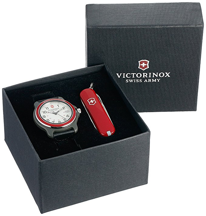 Victorinox Men's 249088.1 Original Analog Display Swiss Quartz Black Watch Set